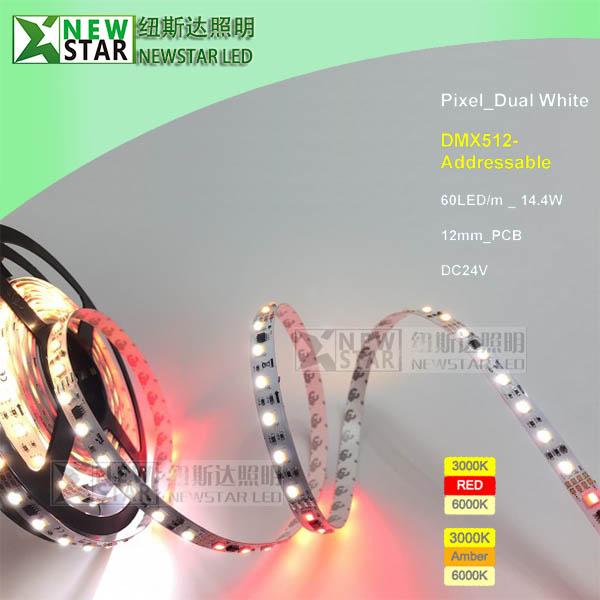 DMX512 CCT adjustable dual white wwa led strips-3